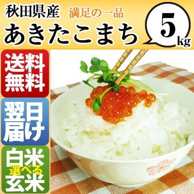 秋田県 白米 玄米 1等米 100% あきたこまち 5kg ...