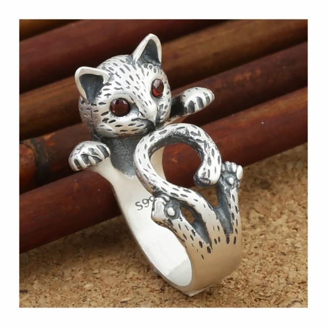 F584 猫リング シルバー ネコリング 猫指輪 猫モ...