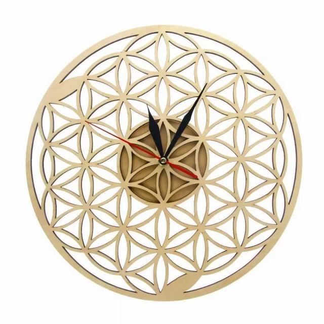壁掛け時計 壁時計 和モダン 花柄 ウッド 木製 和...
