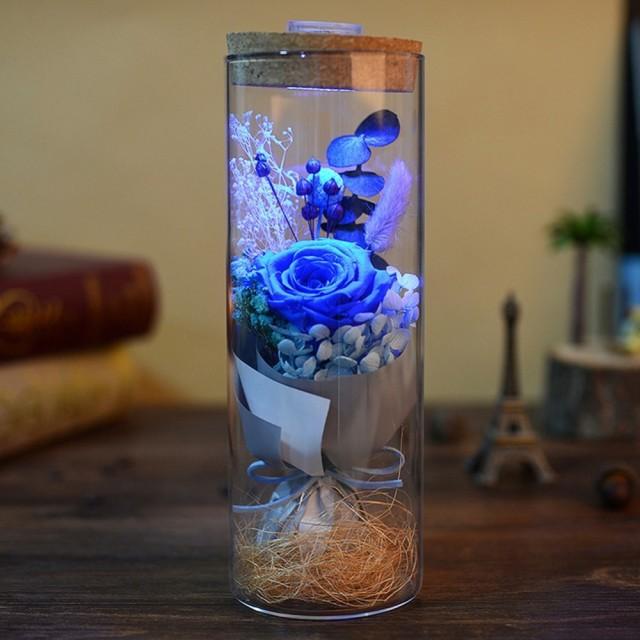 幻想的なローズ ガラスドーム ドライフラワー LED...