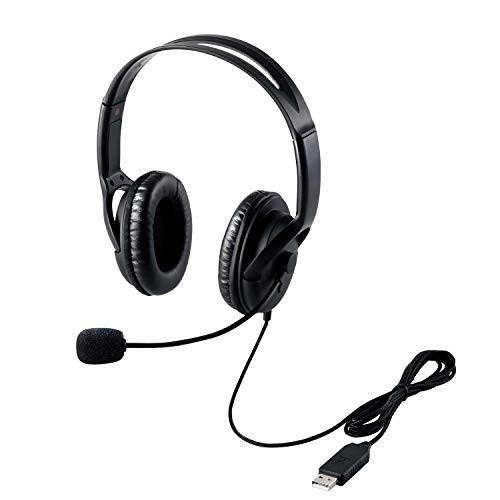 【送料無料】エレコム ヘッドセット マイク USB 両耳 オーバーヘッド 片出しケーブル 1.8m HS-HP28UBK