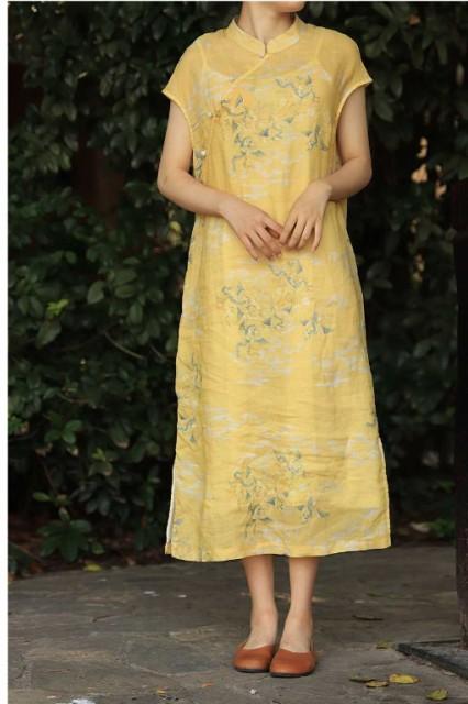 サテン スカート 刺繍 チャイナ風 ワンピース チ...