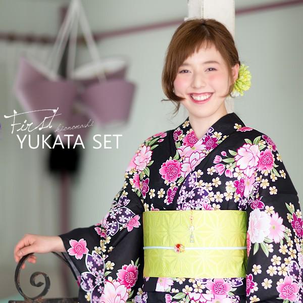 着付け小物 帯飾り付き 浴衣セット 黒色 桜 (鶸...