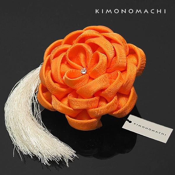 【あす着対応】 つまみ細工のお花の髪飾り オレン...