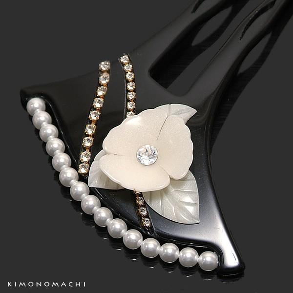 【あす着対応】 礼装 かんざし「黒色 花モチーフ...