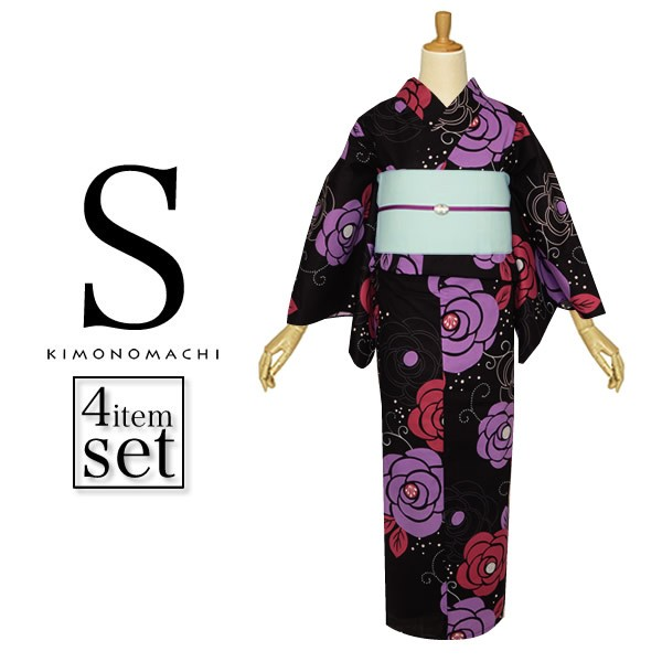 【あす着対応】 Sサイズ 浴衣セット 黒色 薔薇 ス...