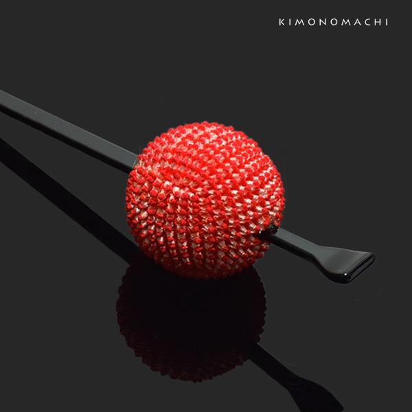 絞り玉 かんざし「赤色」玉かんざし 髪飾り 振袖 ...