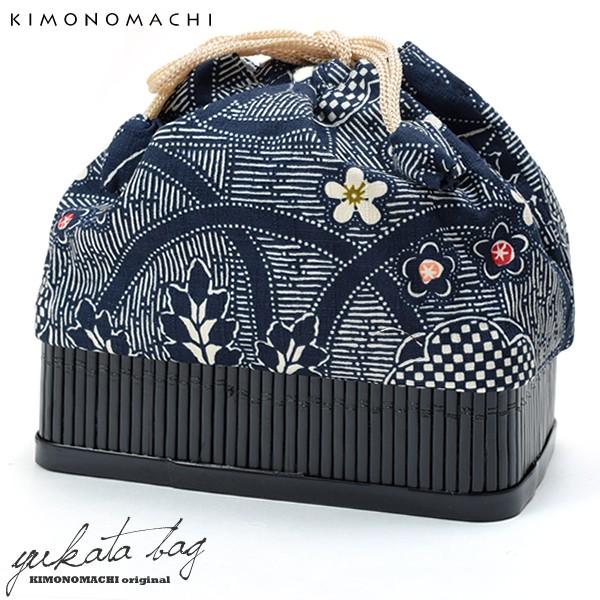 【あす着対応】 竹籠 巾着単品「紺色 桐と梅」 京...