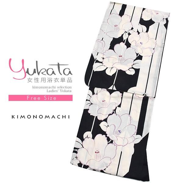 女性 浴衣単品「黒×白色 矢羽根に椿」綿 綿浴衣 ...