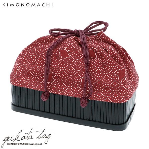 【あす着対応】 竹籠 巾着単品「赤色 波に千鳥」...