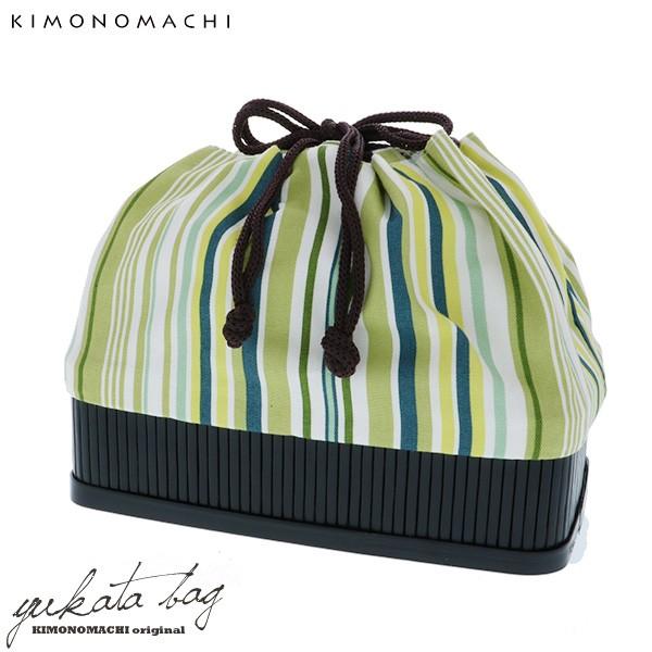 竹籠 巾着単品「グリーン ストライプ」 京都きもの町 巾着バッグ 籠巾着 浴衣巾着