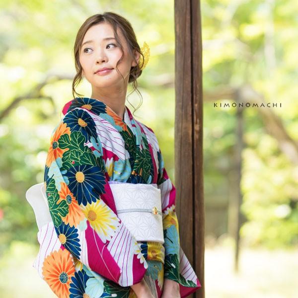 洗える着物 夏着物「紫色 菊花」レディース S、L...