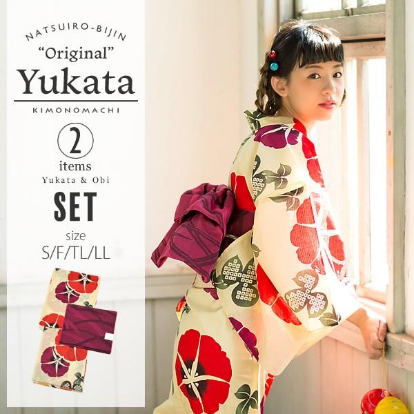 京都きもの町オリジナル 浴衣2点セット「赤色 朝顔」綿 S、F、TL、LL 女性浴衣セット