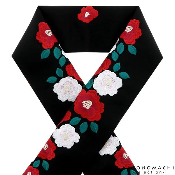 【あす着対応】 刺繍 半衿「黒色 紅白椿」 ブラ...