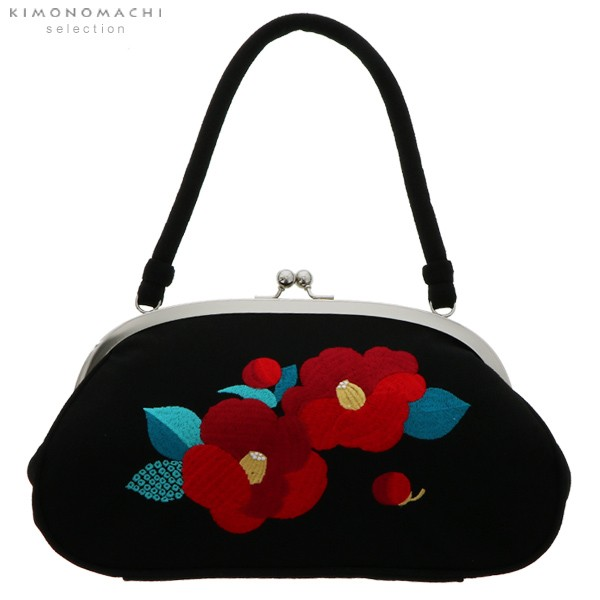 【あす着対応】 刺繍がま口 バッグ単品「黒色 椿...
