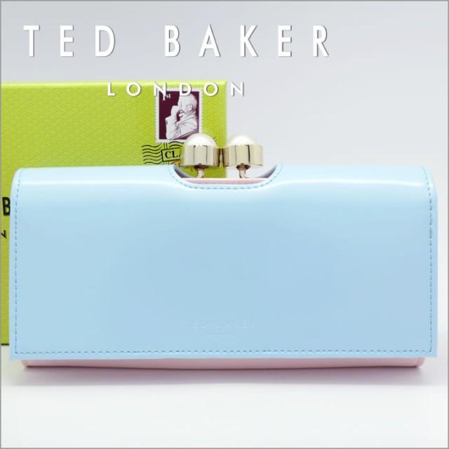 3ef444df48e6 テッドベーカー 長財布 TED BAKER がま口財布 レディース ライトブルー×ライトピンク XS7W/XL26