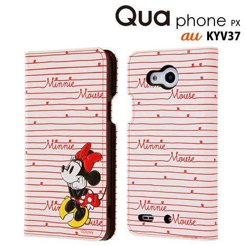 73c0f95e97 ディズニー au Qua phone PX 専用 手帳型ケース ポップアップ カーシヴ ミニー RT-DQPPXT