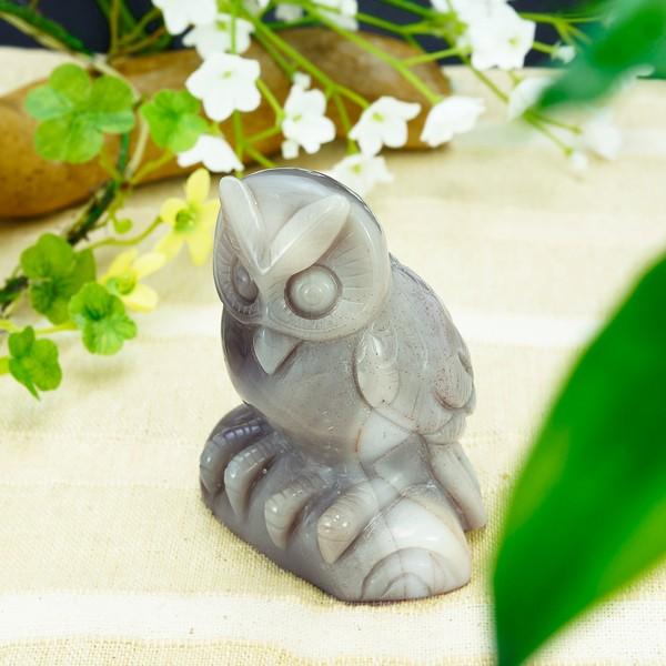 かわいいフクロウの彫刻(手彫り)メノウ 瑪瑙 アゲ...