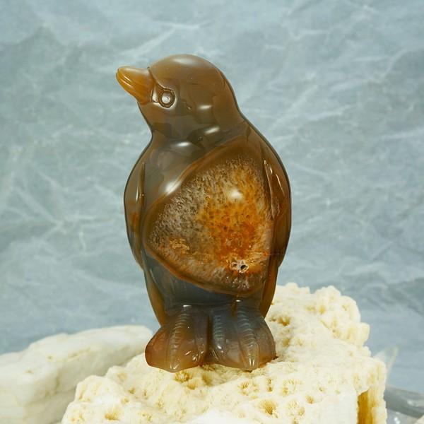 かわいい♪手彫り彫刻 ペンギンの置物 【重量約45...