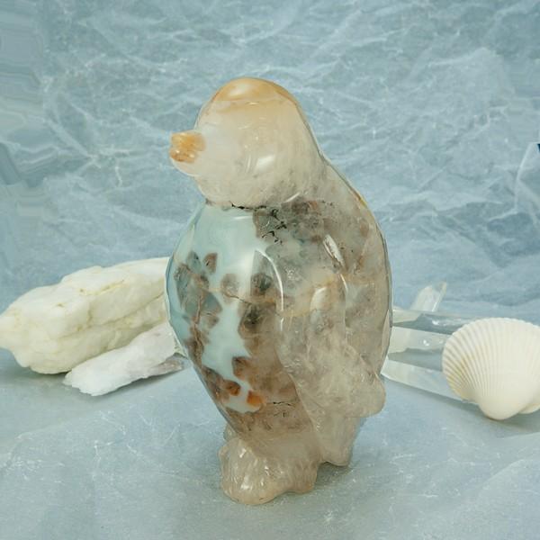 かわいい♪手彫り彫刻 ペンギンの置物 【重量約11...