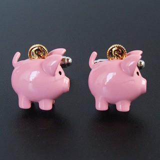 ピンク豚の貯金箱カフスボタン