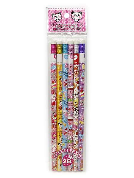カラー消しゴム付鉛筆 6本入◆レモン◆鉛筆