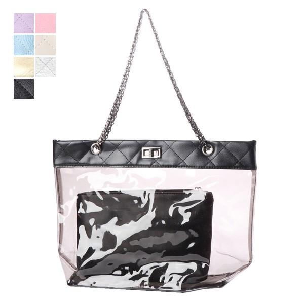 dfc36523516e80 トートバッグ クリアトート クリアバッグ プールバッグ ビニール ポーチ付き 鞄 かばん バッグ レディース SALE. 商品イメージ
