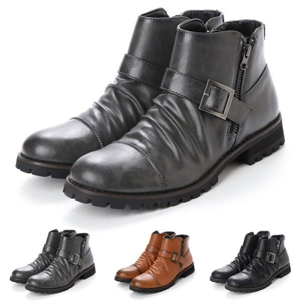 ブーツ ショートブーツ エンジニアブーツ ベルト...