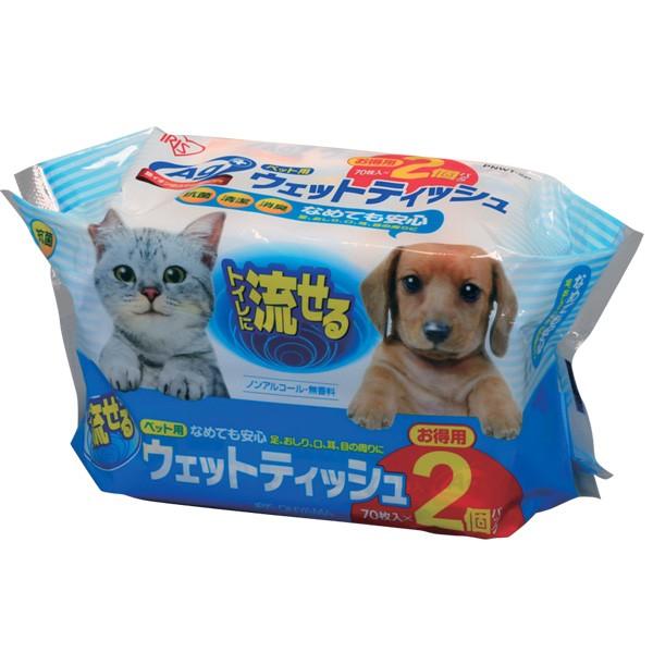 【2個セット】ペット用流せるウェットティッシュ ...