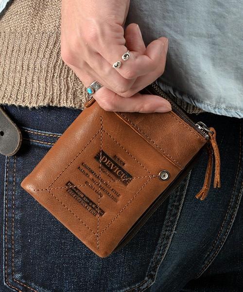 送料無料 ブラウン 茶色 財布 二つ折り財布 メン...