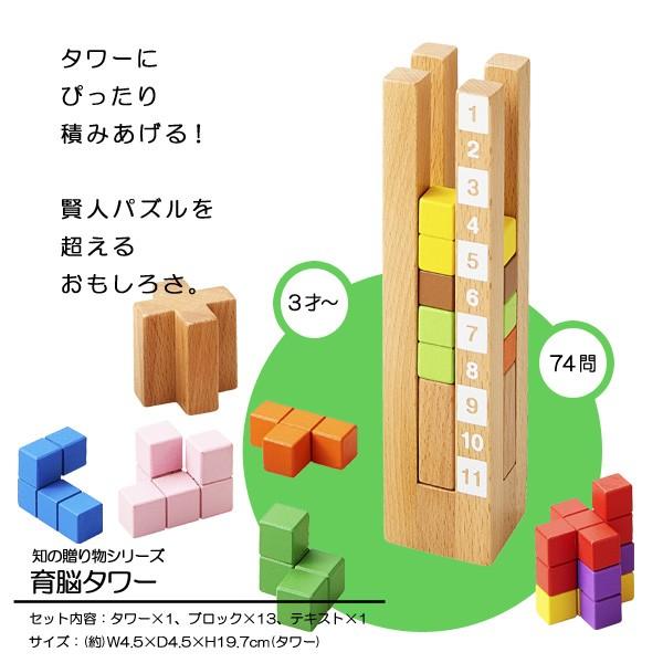 【送料無料】 育脳タワー 立体パズル 知育玩具 木...