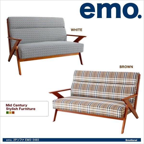 【送料無料】 emo.2pソファ(格子柄) EMS-2465 【...
