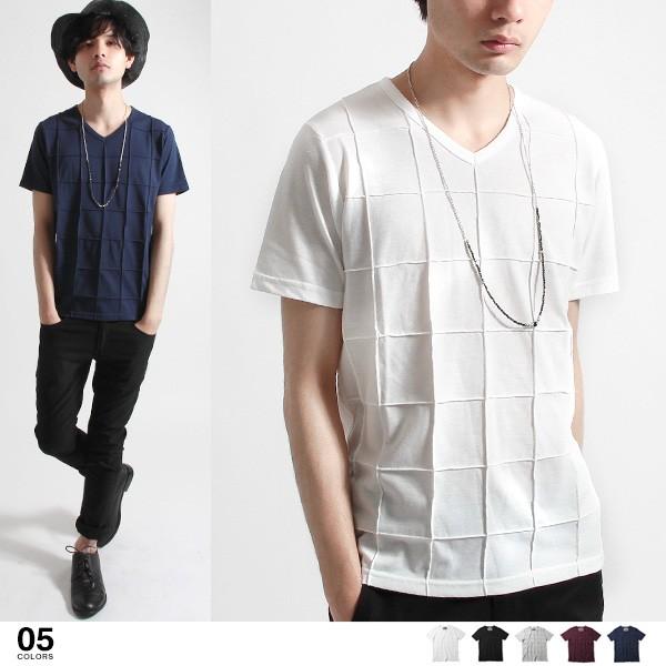 【40%OFF】ピンタック Vネック 半袖 Tシャツ カ...