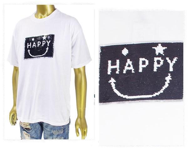 ハルハム にっこりデザイン スパンコール Tシャツ...