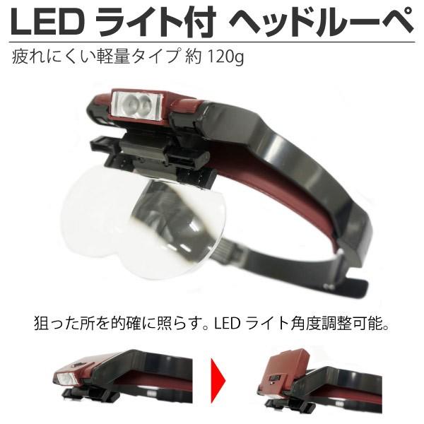 LED ライト付 ヘッドルーペ/拡大鏡/角度調整/ シ...