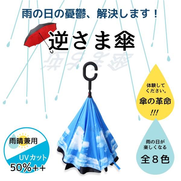 傘 逆さ傘 晴雨兼用 UVカット 遮光 自立 おしゃれ かわいい 8カラー レディース メンズ 長傘 日傘 さかさま傘 逆さま傘 _@a866(a866)