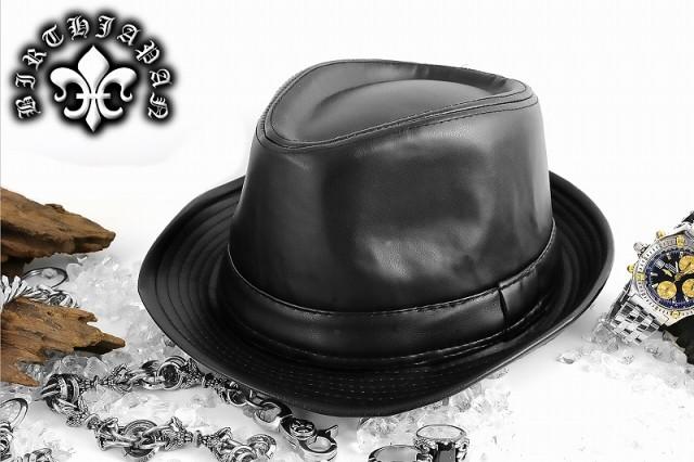 ※送料無料※帽子30黒/レザー調ハット■メンナク...