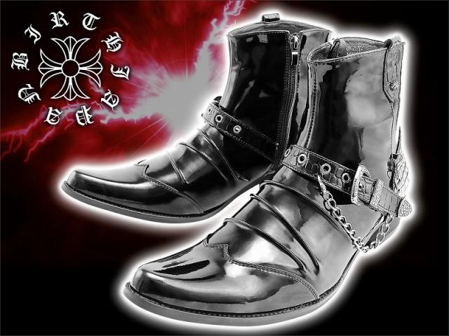 送料無料/靴92黒■クロコ柄ベルト&チェーン付きエ...