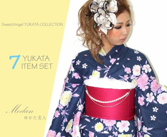 浴衣 レディース 浴衣7点セット 紫古典桜 半巾帯...
