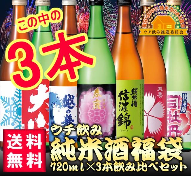 【送料無料】ウチ飲み純米酒福袋3本セット 720m...