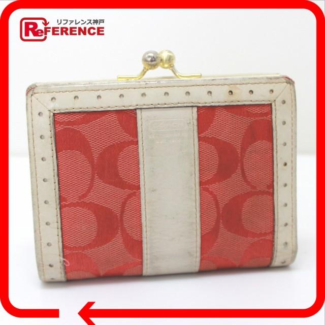 wholesale dealer 5b6d6 58d22 あす着 COACH コーチ がま口財布 二つ折り財布(小銭入れあり) キャンバス/レザー ピンク