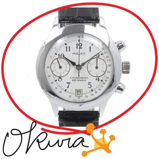 ポレオット 腕時計 中古 メンズ 手巻き SS 革ベル...
