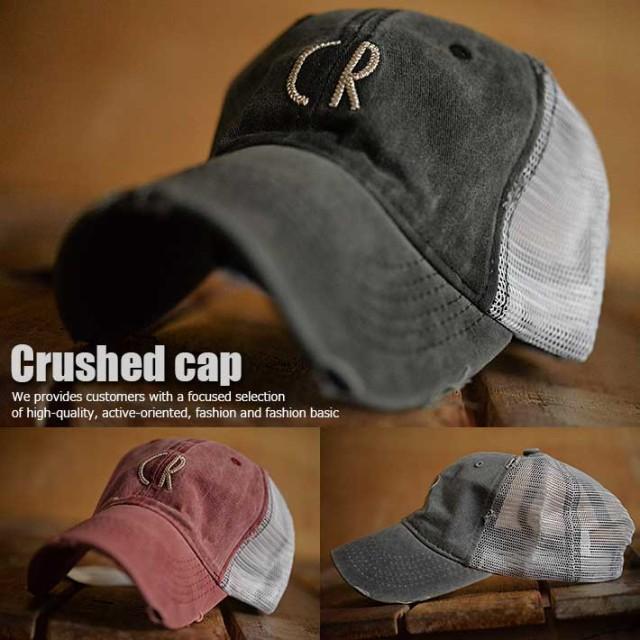 ダメージ加工 Crushed cap Vintage メッシュキャ...