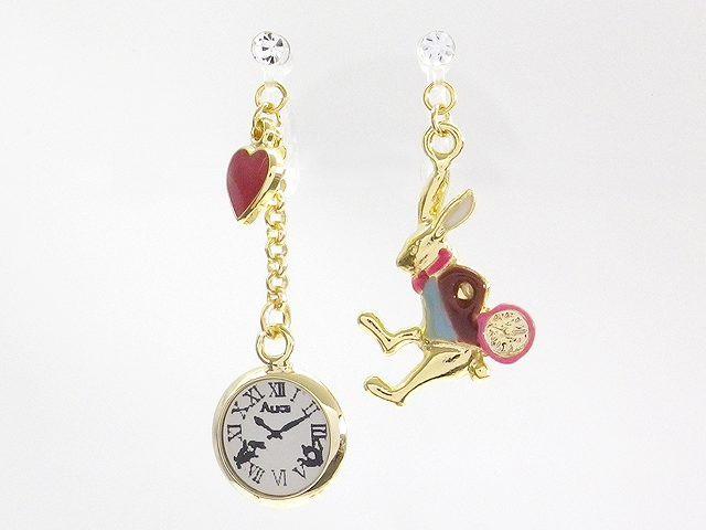 樹脂製 アリス風ウサギと時計のノンホールピアス ...