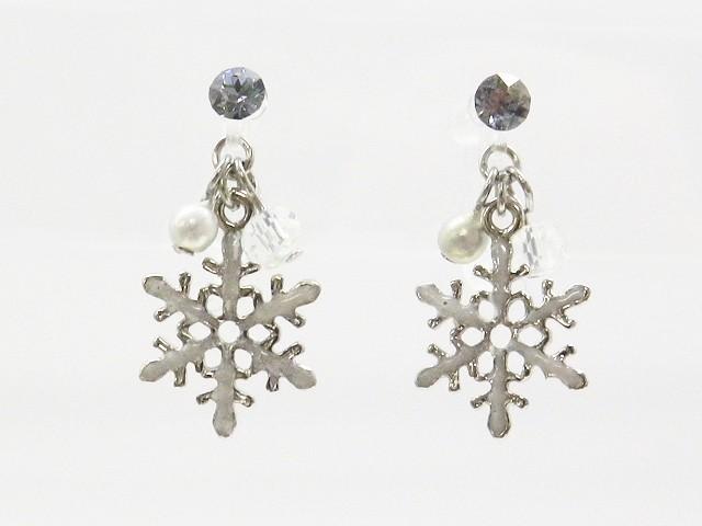 樹脂製 シルバーの雪結晶と小さなパールのノンホ...