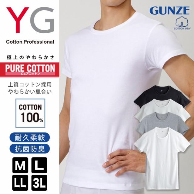 グンゼ YG PURE COTTON 本体綿100% クルーネック...