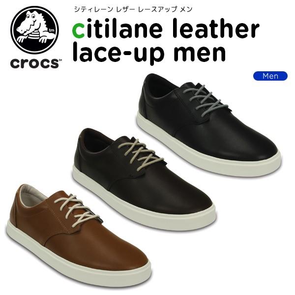 クロックス(crocs) シティレーン レザー レースア...