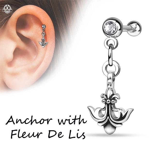 16G Anchor with Fleur De lis  ストレートピア...