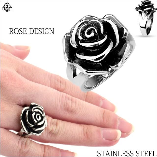 肌に優しい 薔薇 ROSE ステンレス指輪 ステン...