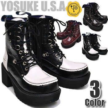 厚底ブーツ レディース ショートブーツ YOSUKE U....